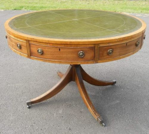 Large Round Leather Top Pedestal Drum Table